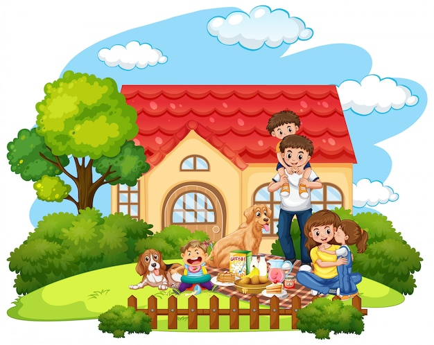 Family picnic in front of the yard Free Vector