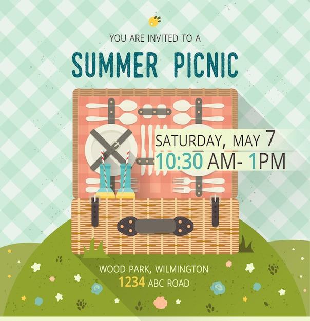 Family picnic glade card Premium Vector