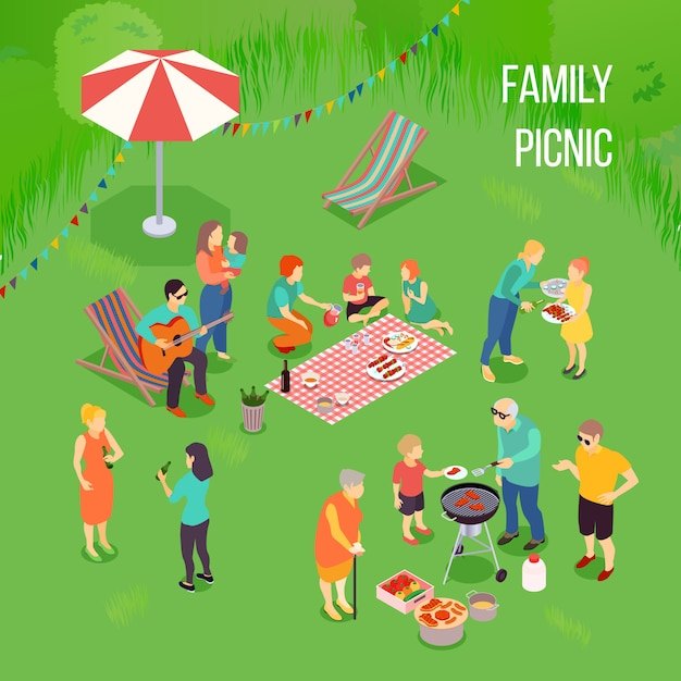Family picnic isometric composition Free Vector