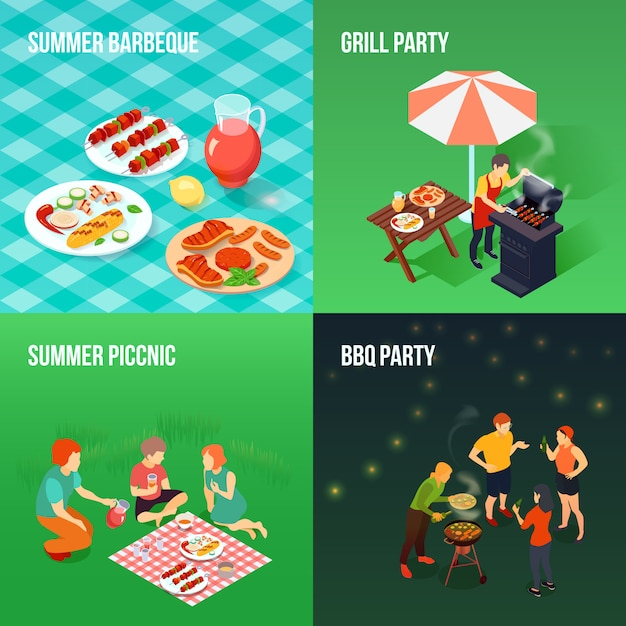 Family picnic isometric concept Free Vector