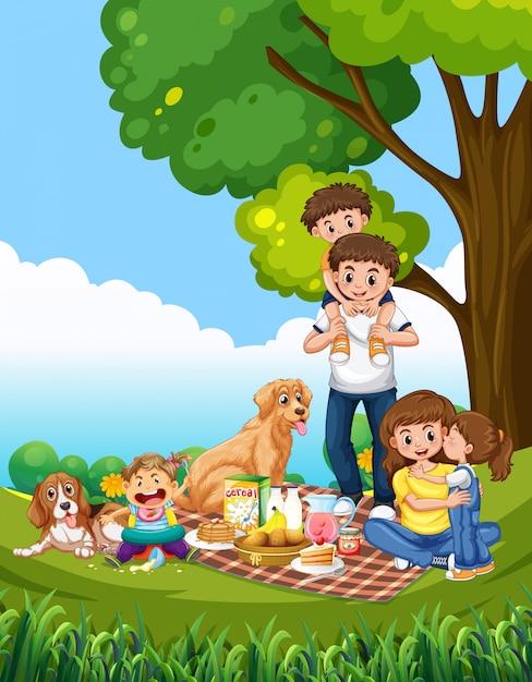 A family picnic scene Premium Vector