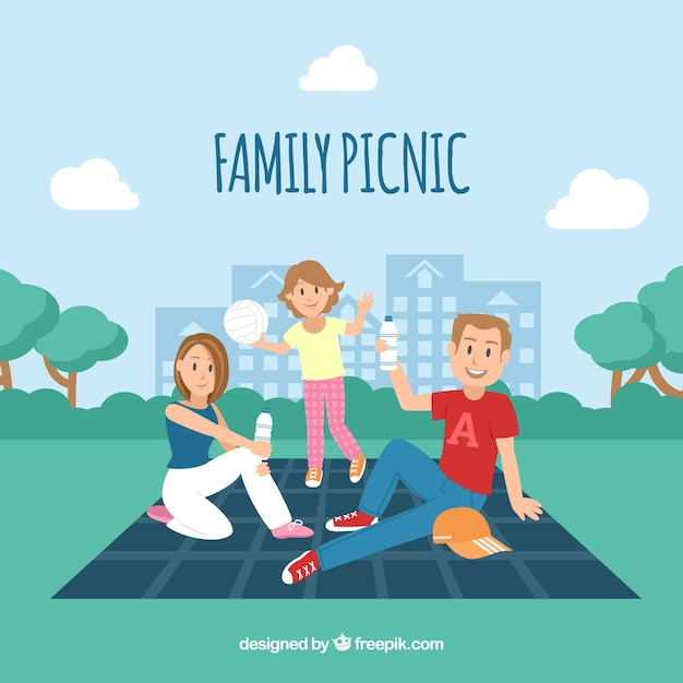 Family picnic with flat design