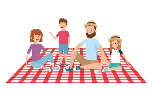 Family on picnic Premium Vector