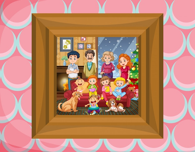 Family in picture frame Free Vector