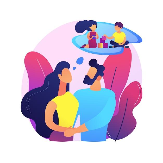 家族計画の抽象的な概念図。リプロダクティブヘルスサービス、家族相談、女性のヘルスケア、避妊方法の選択、妊娠計画。 無料ベクター