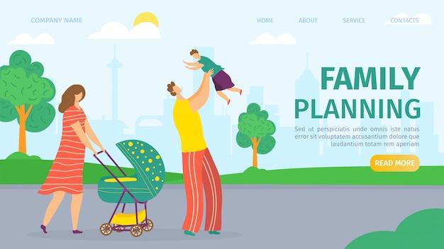 가족 계획 및 개발 방문 웹 페이지, 그림. 어머니, 아버지, 유모차와 아이들의 아기. 남성과 여성의 건강, 결혼 및 부부를위한 어린이 계획 서비스. 프리미엄 벡터