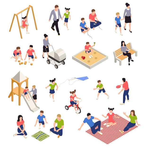 Family playing isometric icons set with parents and children isolated Free Vector