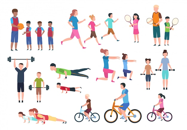 Premium Vector Family Playing Sports People Fitness Exercising And Jogging Sport Active Lifestyles Cartoon Characters