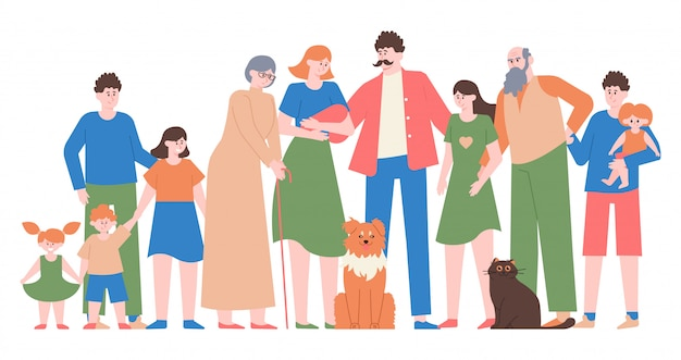 Family portrait. mom, dad, teenage daughter and son, happy family with children, different generations characters   illustration. dad and mom, son and daughter, love people family Premium Vector