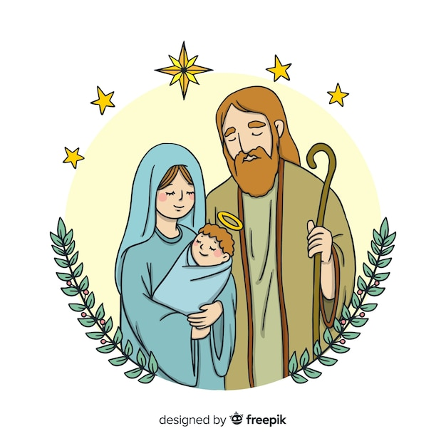 Family portrait nativity background Free Vector