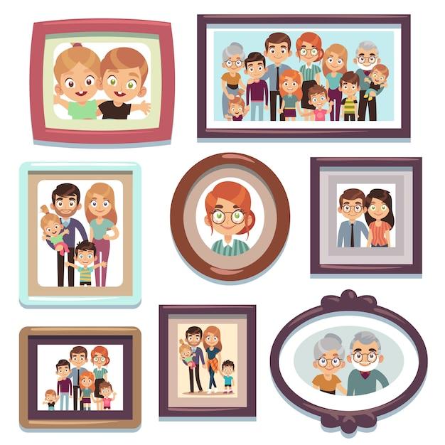 가족 사진. 사진 사람들 사진 프레임 행복 문자 친척 왕조 부모 아이 관계, 평면 템플릿 프리미엄 벡터