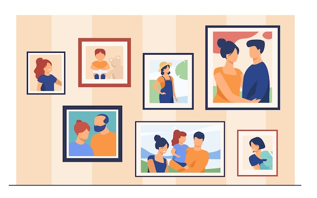 Family portrait pictures in frames on wall Free Vector