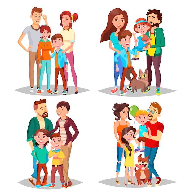Family portrait set Premium Vector