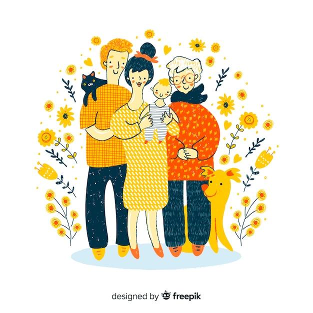 Family portrait Free Vector