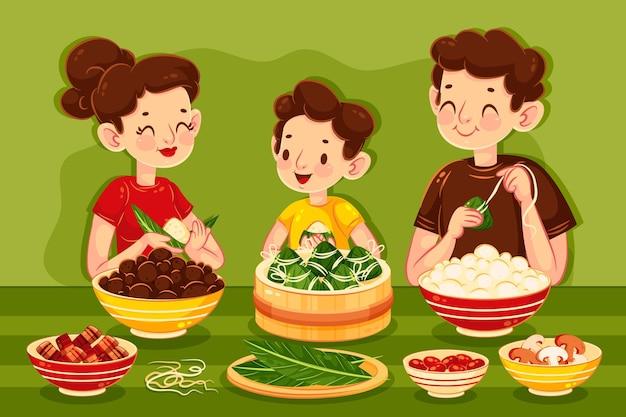 Семья готовит и ест цзунцзы Бесплатные векторы