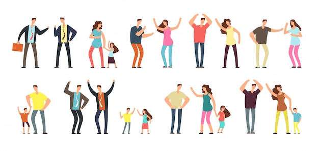 Family and professional conflict. Premium Vector