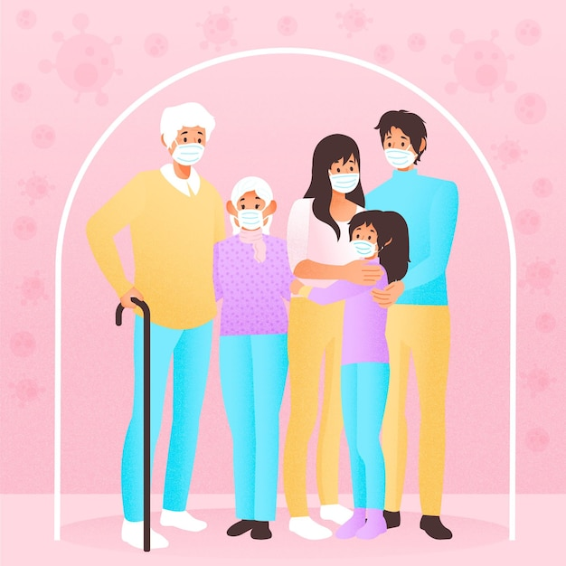 ウイルスの概念から保護された家族 無料ベクター