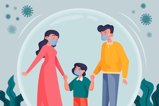 Семья защищена от вируса Бесплатные векторы