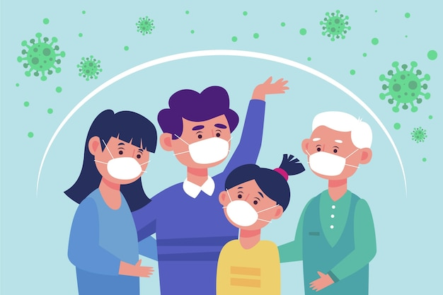 Family protected from the virus illustration Free Vector