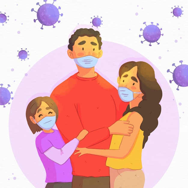 Family protected from virus infection Free Vector
