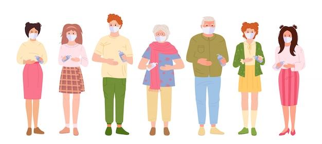 바이러스로부터 보호되는 가족. 사람들은 알코올 젤로 의료 마스크 소독제 손을 사용합니다. 공중에서 코로나 바이러스의 전염병을 멈추고, 만화 스타일의 개념 프리미엄 벡터