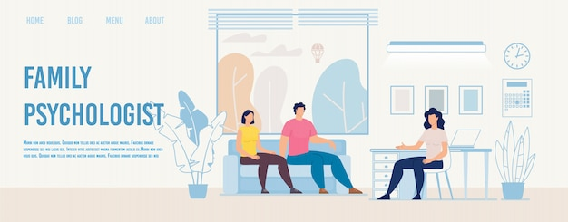 Family psychologist counseling flat vector webpage Premium Vector