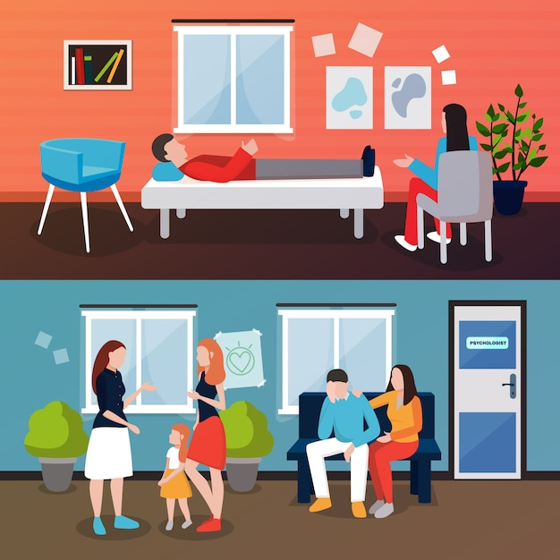 Family psychologist scene collection Free Vector