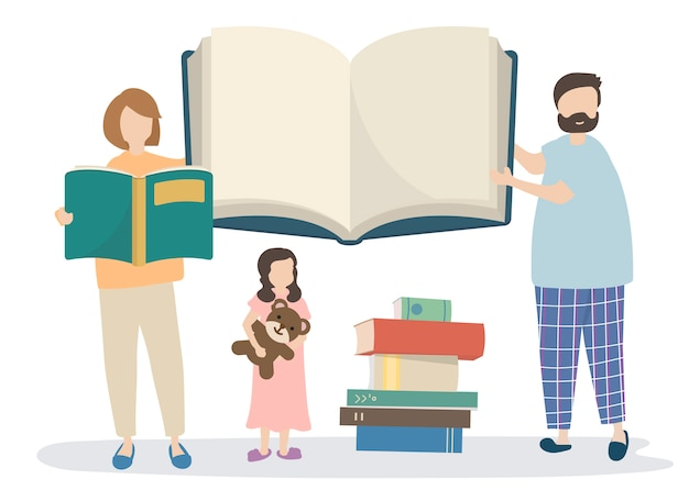 Family reading a story book Free Vector