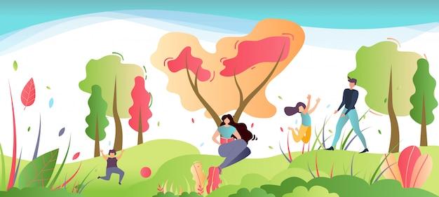 Family recreation on nature cartoon illustration Premium Vector
