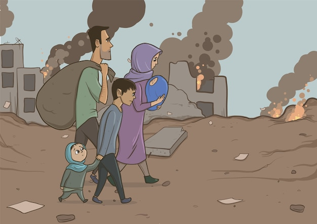 Family of refugees with two children on destroyed buildings. immigration religion and social theme. war crisis and immigration. horizontal vector illustration cartoon characters. Premium Vector