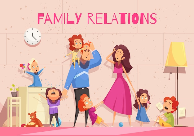 Family relations cartoon showing emotion of dejected parents tired of child noise vector illustration Free Vector