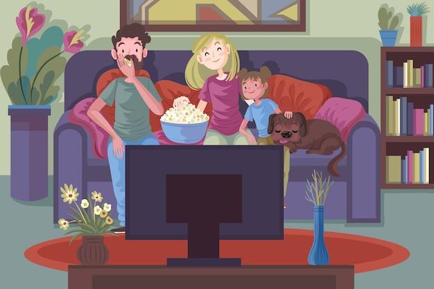 映画を見ながら家でくつろぐ家族 無料ベクター