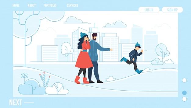 Family rest outdoor in winter design landing page Premium Vector