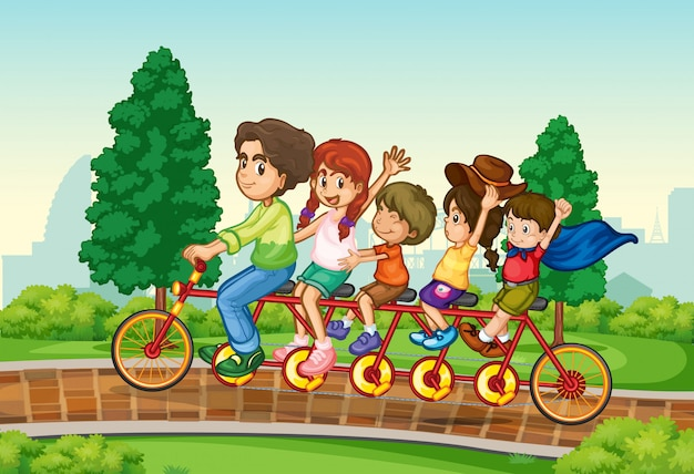 Family riding bike in the park Free Vector