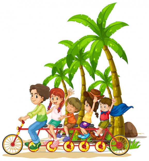 Family riding tandem bike on the beach Free Vector
