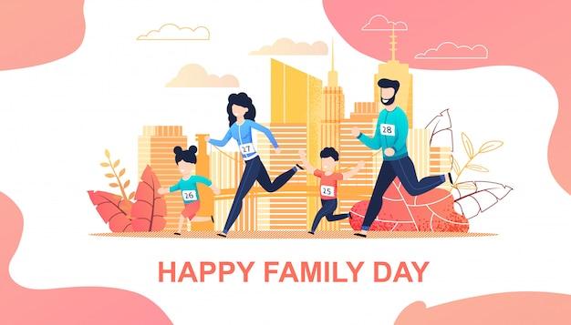 Family running marathon in city flat cartoon Premium Vector