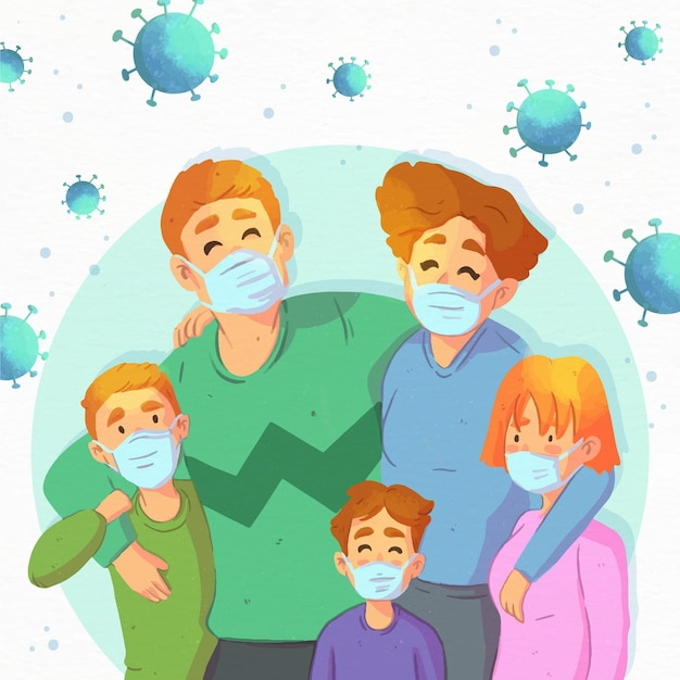 Family safe from the virus Free Vector