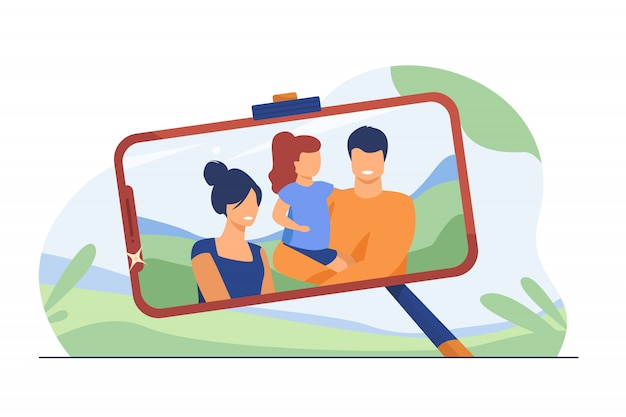 Family selfie photo on phone screen Free Vector