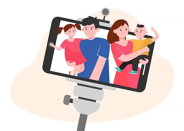 Family selfie on smartphone Free Vector
