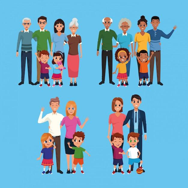 Famiglia set di raccolta di cartoni animati Vettore gratuito