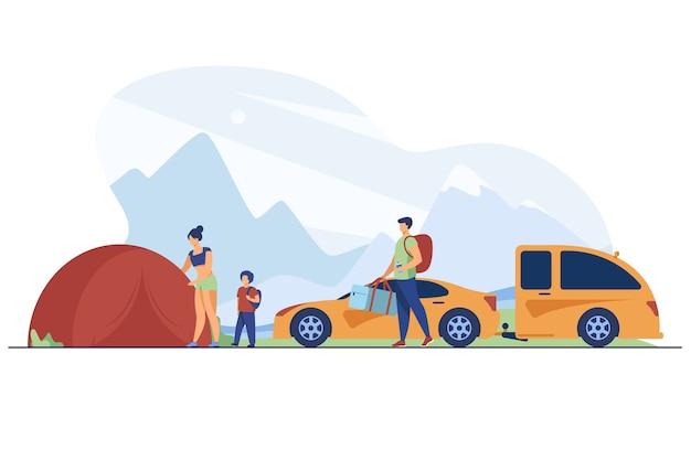 Family setting up camp in mountains. tourists with kid near tent and car flat vector illustration. vacation, family travel, adventure concept Free Vector