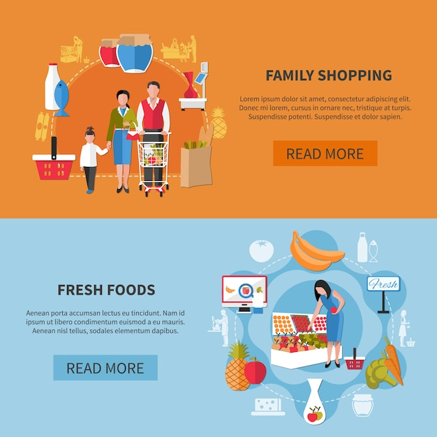 Family shopping banners Free Vector