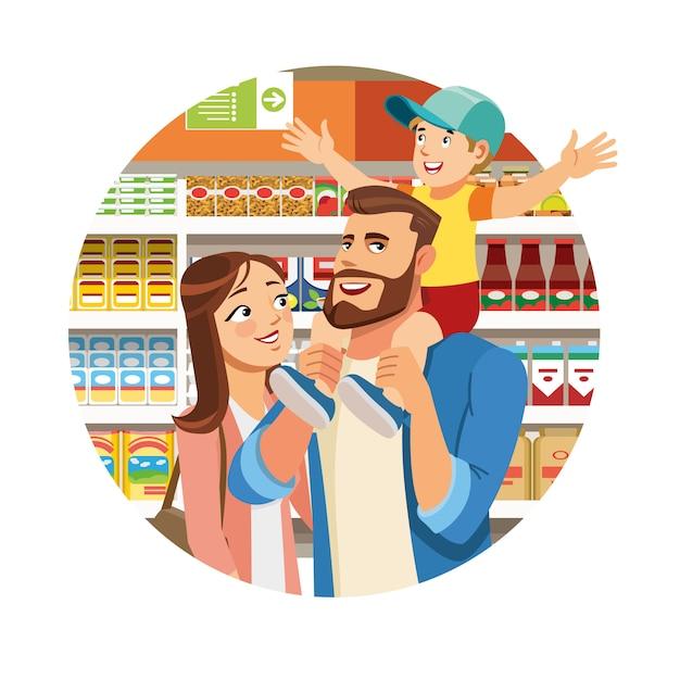 Family shopping in grocery cartoon vector icon Premium Vector