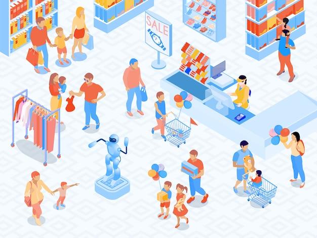 モールの両親と商品選択等尺性ベクトル図中に子供のレジの近くの家族のショッピングシーン 無料ベクター