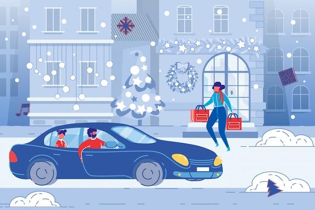 ファミリーショッピング、クリスマスホリデー雑用。フラットの図。 Premiumベクター