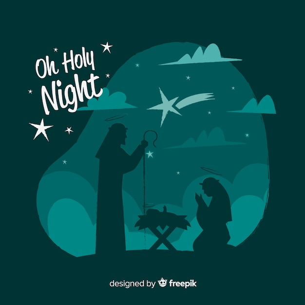 Family silhouette nativity background Free Vector