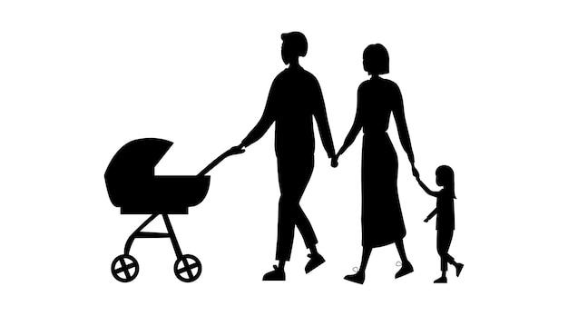 Семейные силуэты, изолированных на белом фоне. Premium векторы