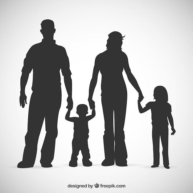 family silhouettes free vector