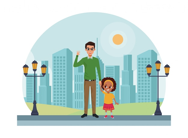 Family single father with little kid cartoon Premium Vector