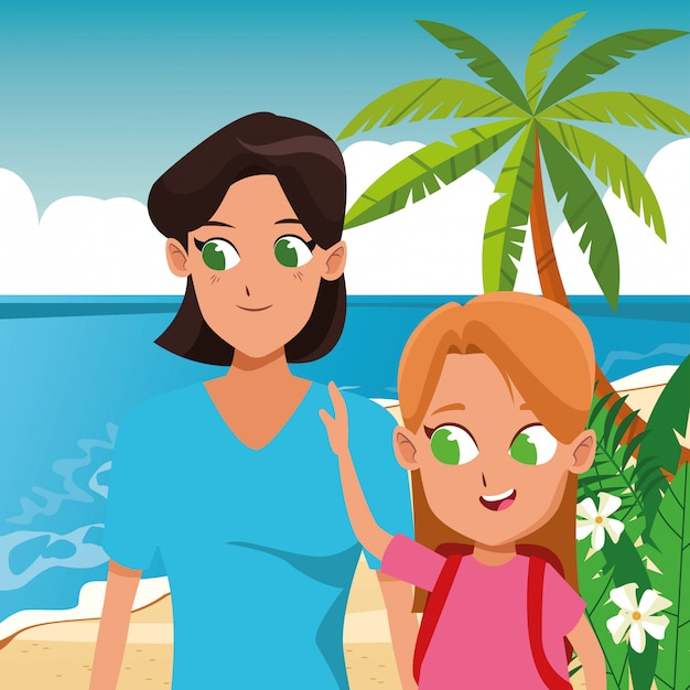 Family single mother with kid Premium Vector